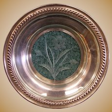 """Watson Sterling Silver Glass or Crystal Shallow Bowl Trinket Tray Dish 5-1/2"""""""