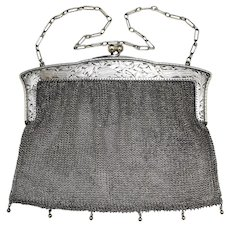 """Sterling Silver 0.935 German Mesh Chainmail Purse Music Theme ~7"""" Wide Heavyweight"""