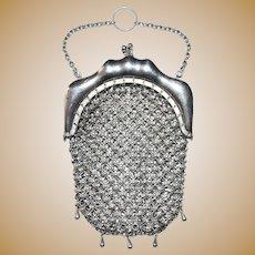 Sterling Silver Mesh Chainmail Chatelaine Miniature Purse Handbag Sequins Rare