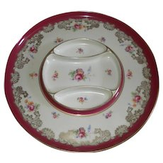 "Porcelain/China Sectioned Serving Dish Tray Platter ~14"" Hand-Painted"