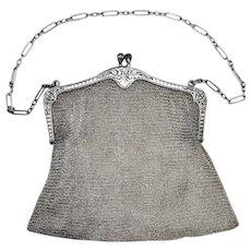 Sterling Silver Mesh Chainmail Purse Handbag Ornamental Frame