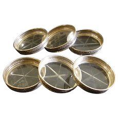 Birks Sterling Silver Repousse Crystal/Glass Coaster Set of 6 Coasters