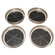 Birks Repousse Sterling Silver Crystal/Glass Coaster Set of 4 Coasters