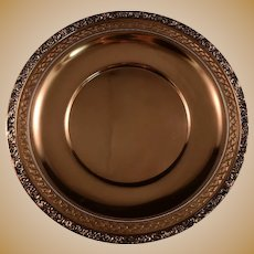 """Watson Sterling Silver 10"""" Plate Pierced and Repousse Border, Beadwork, Magnificent Plate"""