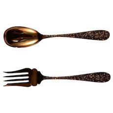 Stieff Sterling Silver Rose Large Serving Spoon and Meat Fork Set