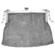 "L.S. Sterling Silver Mesh Chainmail Purse Handbag Clutch 4-3/4"" x 4-5/8"""