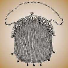 Deitsch Sterling Silver Mesh Chainmail Purse Arched Frame Repousse Features Nice