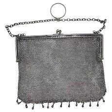 Sterling Silver Antique English British Mesh Chainmail Purse Handbag Clutch