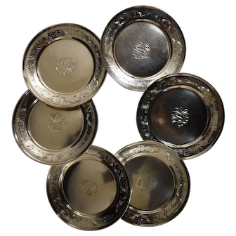 Schofield Sterling Silver Heavyweight 6 Salad or Bread Plates, Ornate Engraving
