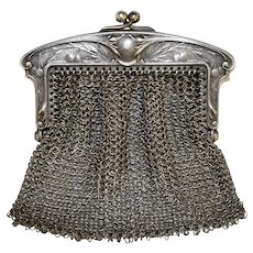 Sterling Silver 0.800 Mesh Chatelaine Miniature Chainmail Purse Coin Bag Repousse Frame