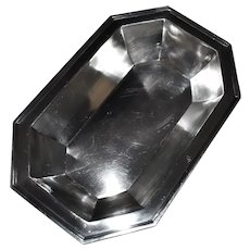 """Alvin Sterling Silver Rectangular Octagonal Fluted Large Bowl Dish ~10"""" x ~6-5/8"""", Heavy"""