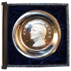 Franklin Mint Sterling Silver Jimmy Carter 1977 Inauguration Presidential Plate Complete