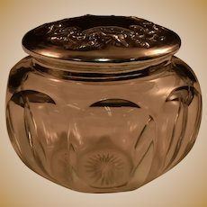 """Webster Sterling Silver Heisey Glass Powder Vanity Jar Repousse/Chased Features 4-1/8"""""""