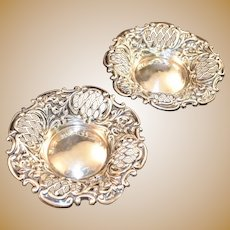 Roger Williams Sterling Silver Antique Nut Cup Finger Dish Bowl Pair Pierced, Repousse