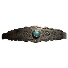 Native American Sterling Silver and Turquoise Storyteller Bracelet