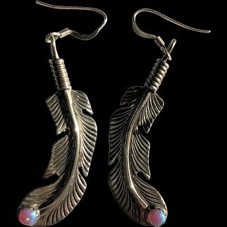 Sterling Silver Feather and Opal Earrings