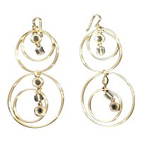 Long Metal Goldtone Earrings