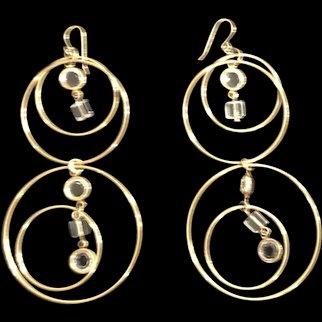 Long Metal Goldtone Earrings