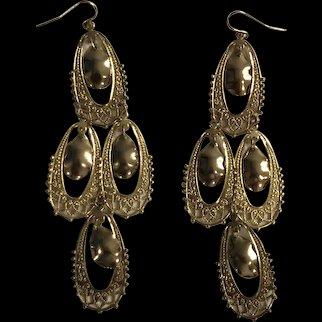 Long Goldtone Dangle Earrings