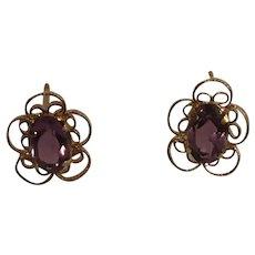 14K Yellow Gold Amethyst Earrings Scroll Design