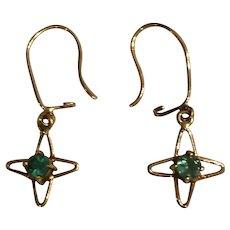 14K Emerald Cross Earrings