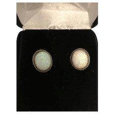 Native American Sterling Silver Created Opal Earrings