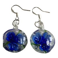 Sterling Silver and Painted Glass Flower Earrings