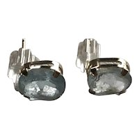 10K Yellow Gold Light Blue Topaz Earrings