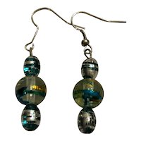 Silver-Toned Art Glass Earrings
