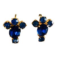 Blue Rhinestone Screw-back Earrings