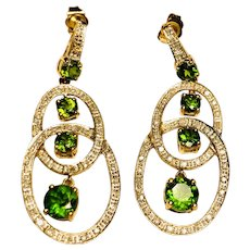 10kt Diamond and Green Stone Earrings