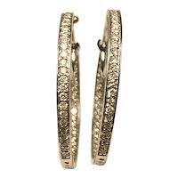 14kt Inside-Out Diamond Hoop Earrings