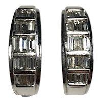14kt White Gold Baguette Diamond Earrings