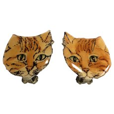 Cute Orange Metal Artisan Cat Earrings