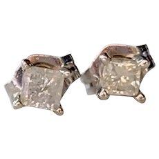 14K White Gold Princess Cut Diamond Earrings