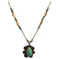 Native American Liquid Silver and Turquoise Necklace