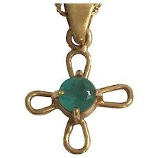 14K Emerald Cross Necklace