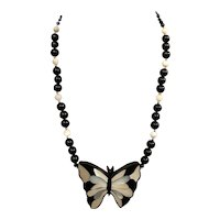 Inlaid Butterfly Mother of Pearl (MOP) and Onyx Necklace
