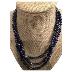 Sterling Silver Lapis Lazuli Thee Strand Necklace