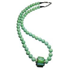 Vintage Green Hardstone Native American Necklace