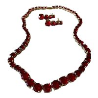 Costume Gold-toned Ruby-colored Earrings and Necklace Set
