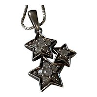 Sterling Silver Necklace with Diamond Triple Star Pendant