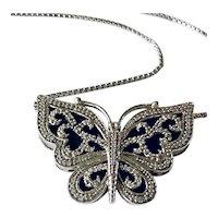Sterling Silver Diamond Butterfly Necklace