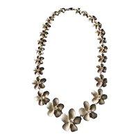 925 Sterling Silver Plumeria Choker Necklace