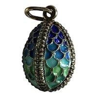 Sterling Silver Cloisonne Blue Green Enamel Russian Egg Pendant