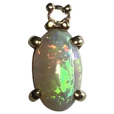 14K White Opal and Accent Diamond Pendant