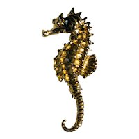 14K Yellow Gold Seahorse Pendant or Brooch