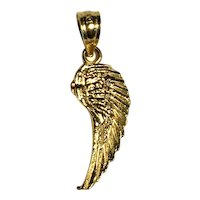 10K Yellow Gold Angel Wing Pendant
