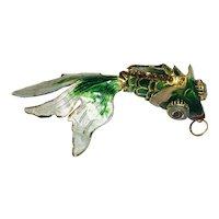 Green and Blue Enamel Metal Koi Fish Pendant