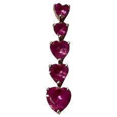 14K White Gold Five Pink Stone Hearts Pendant